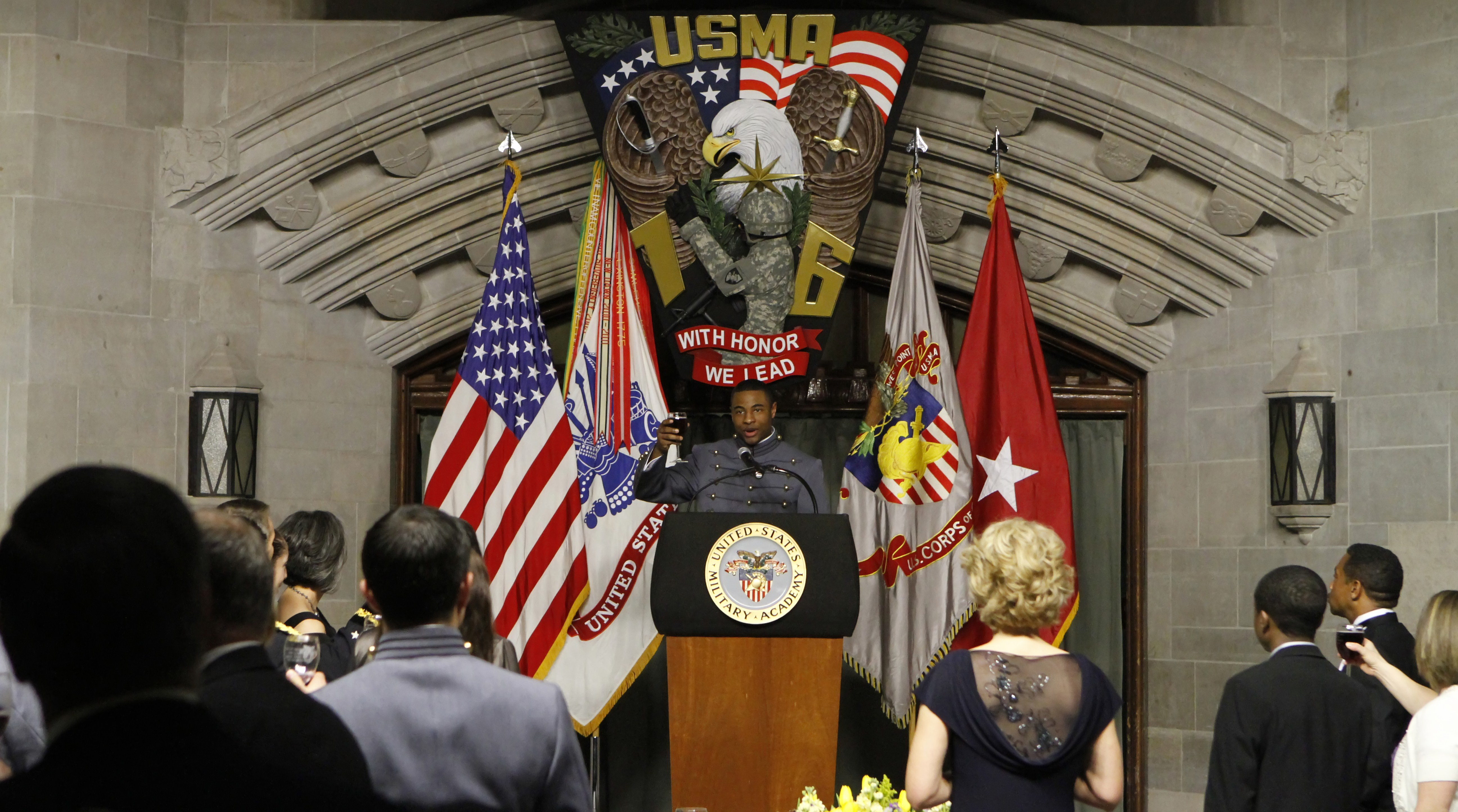 Class of 2016 Cadet Eugene Coleman, class president, delivers the final toast of the night for the Class of 2016at the Plebe-Parent Banquet March 9 at Washington Hall. U.S. Army photo by Mike Strasser/USMA PAO