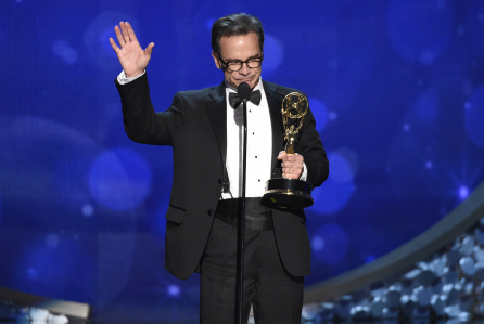 "EXCLUSIVE - Peter Scolari accepts the award for outstanding guest actor in a comedy series for ""Girls"" during night one of the Television Academy's 2016 Creative Arts Emmy Awards at the Microsoft Theater on Saturday, Sept. 10, 2016 in Los Angeles. (Photo by Phil McCarten/Invision for the Television Academy/AP Images)"