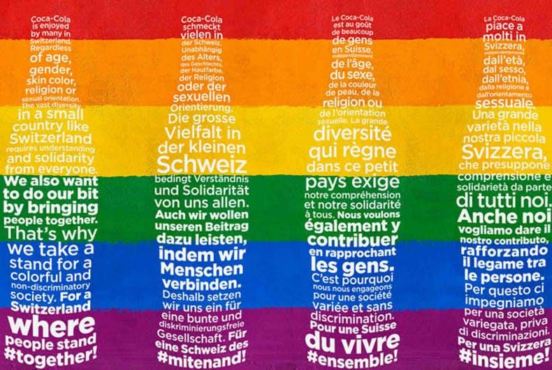 Photo of A Coca-Cola megvette a svájci újságok címlapjait, hogy szivárványba borítsa mindet
